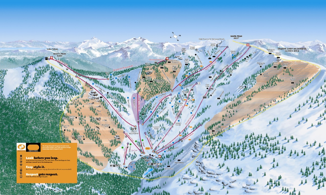Alpine Meadows Piste / Trail Map