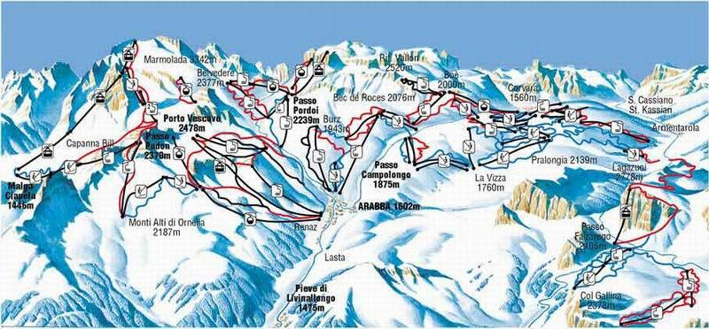 Arabba Piste / Trail Map