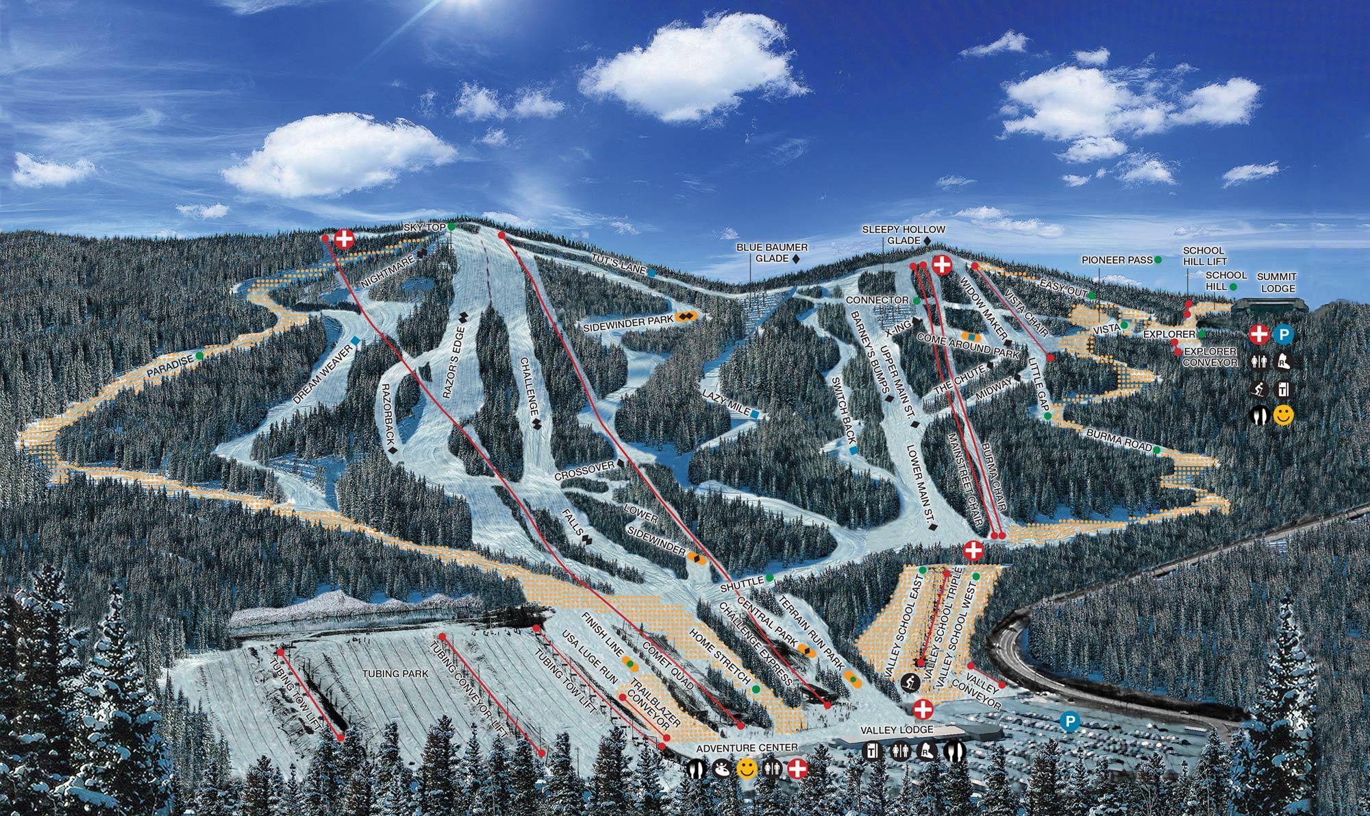 Blue Mountain Resort Pistekaart Spoorkaart