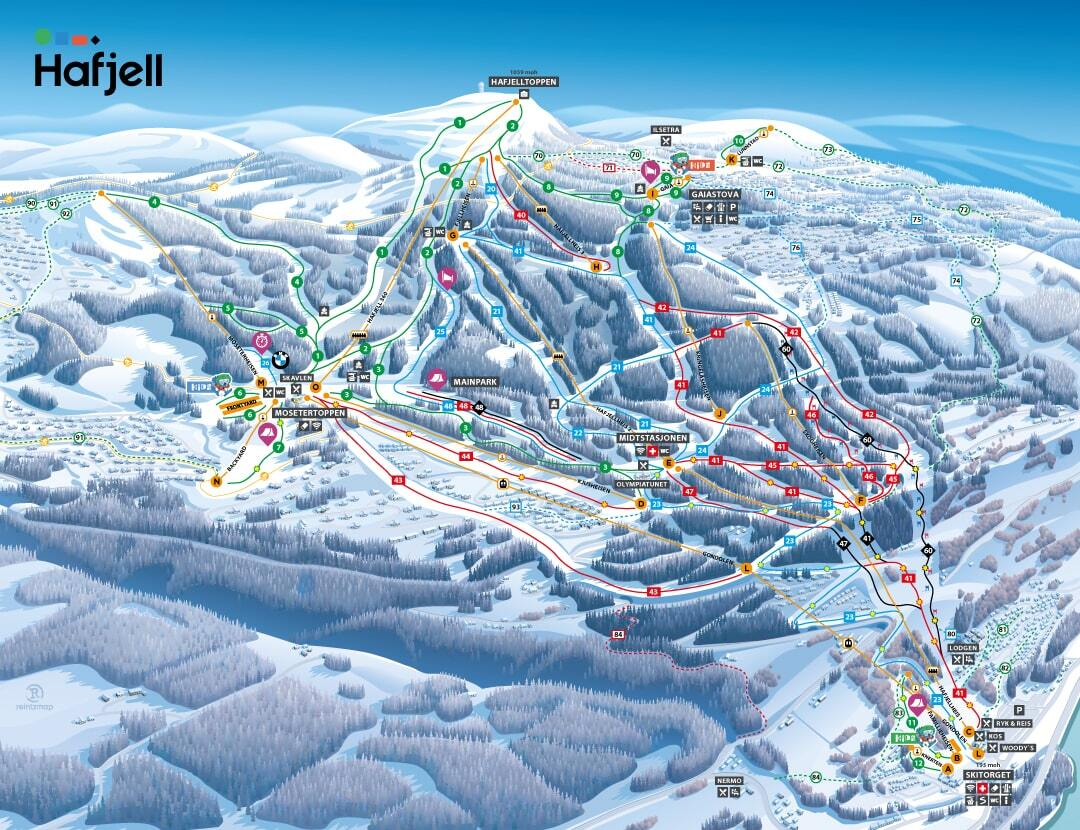 Hafjell Piste / Trail Map
