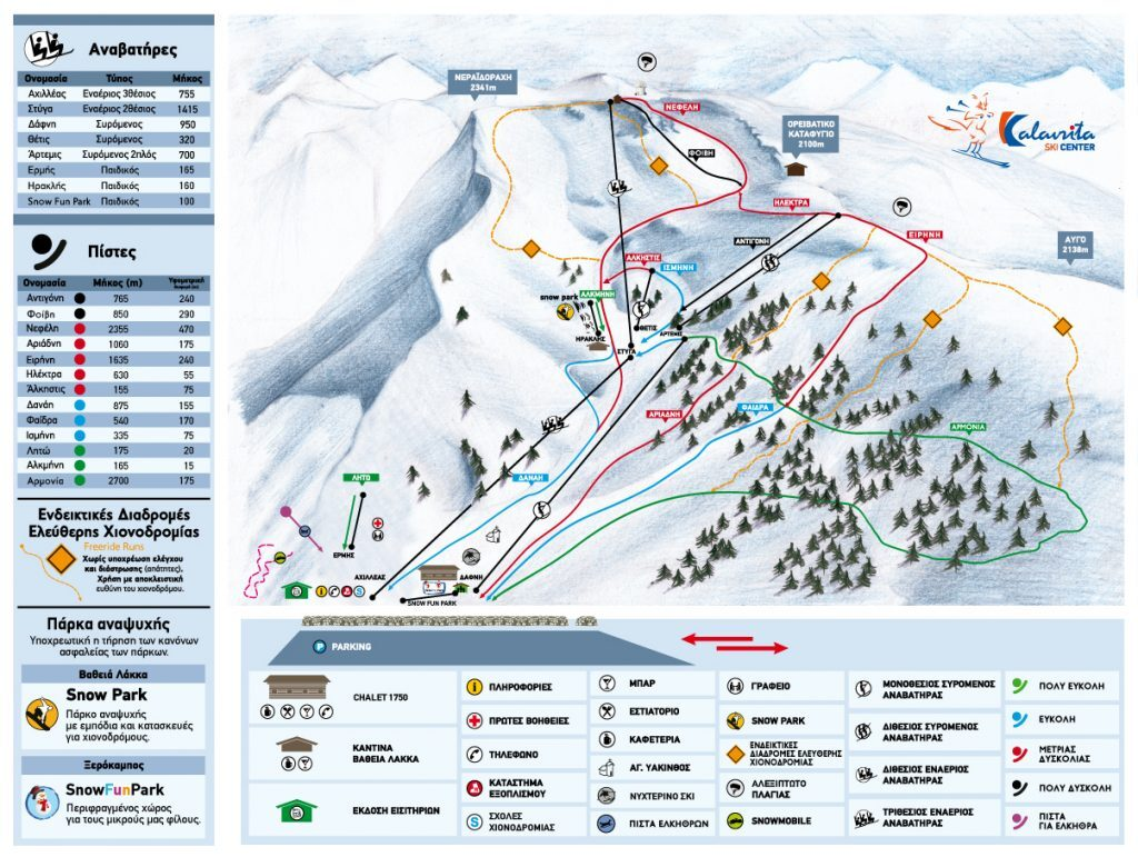Helmos Piste / Trail Map