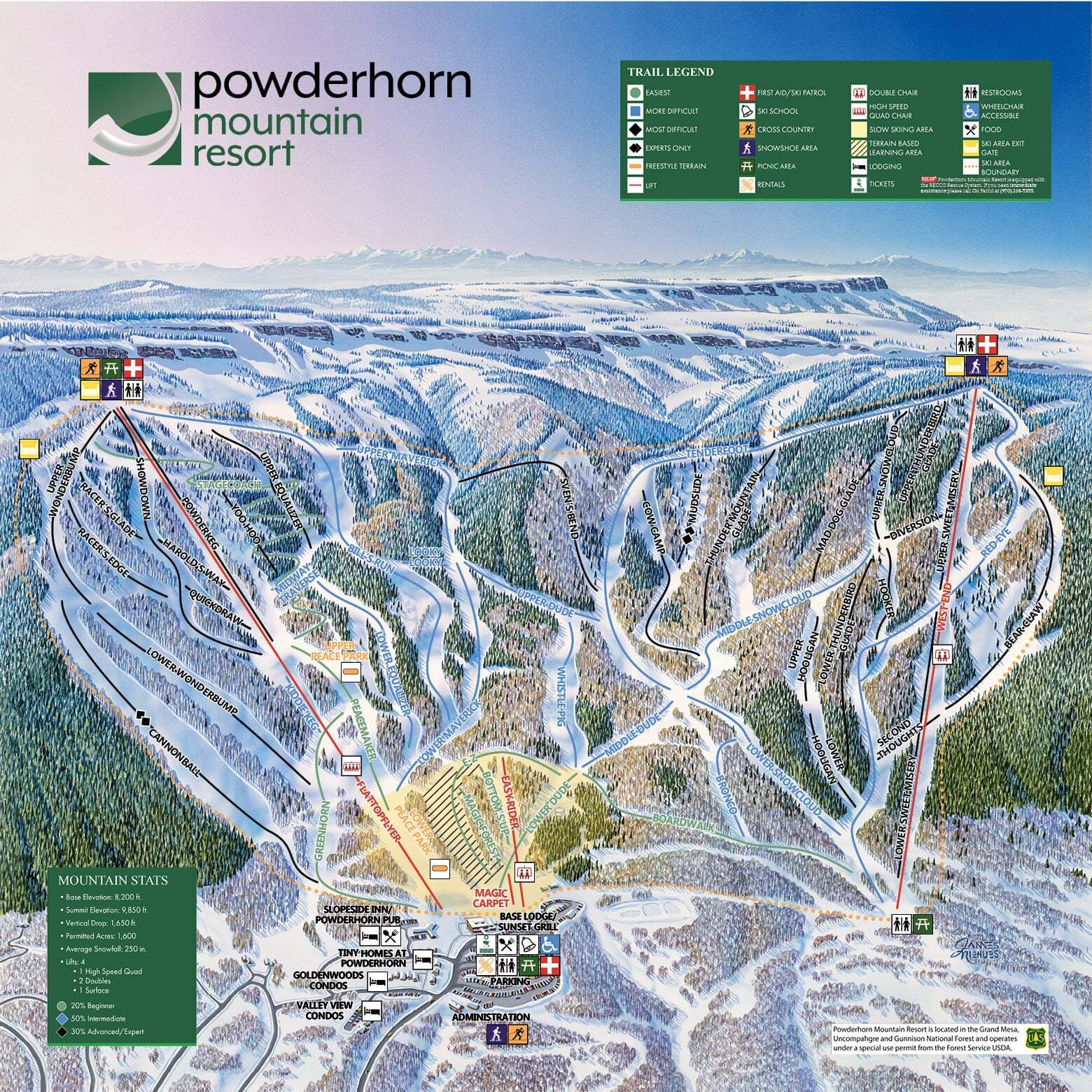Powderhorn Piste / Trail Map