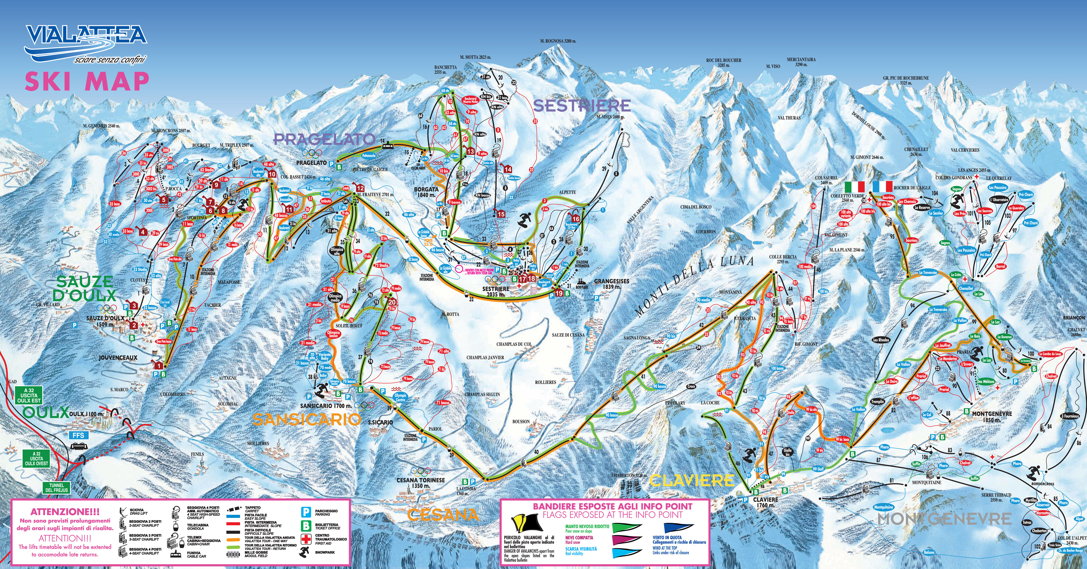San Sicario (Via Lattea) Piste / Trail Map
