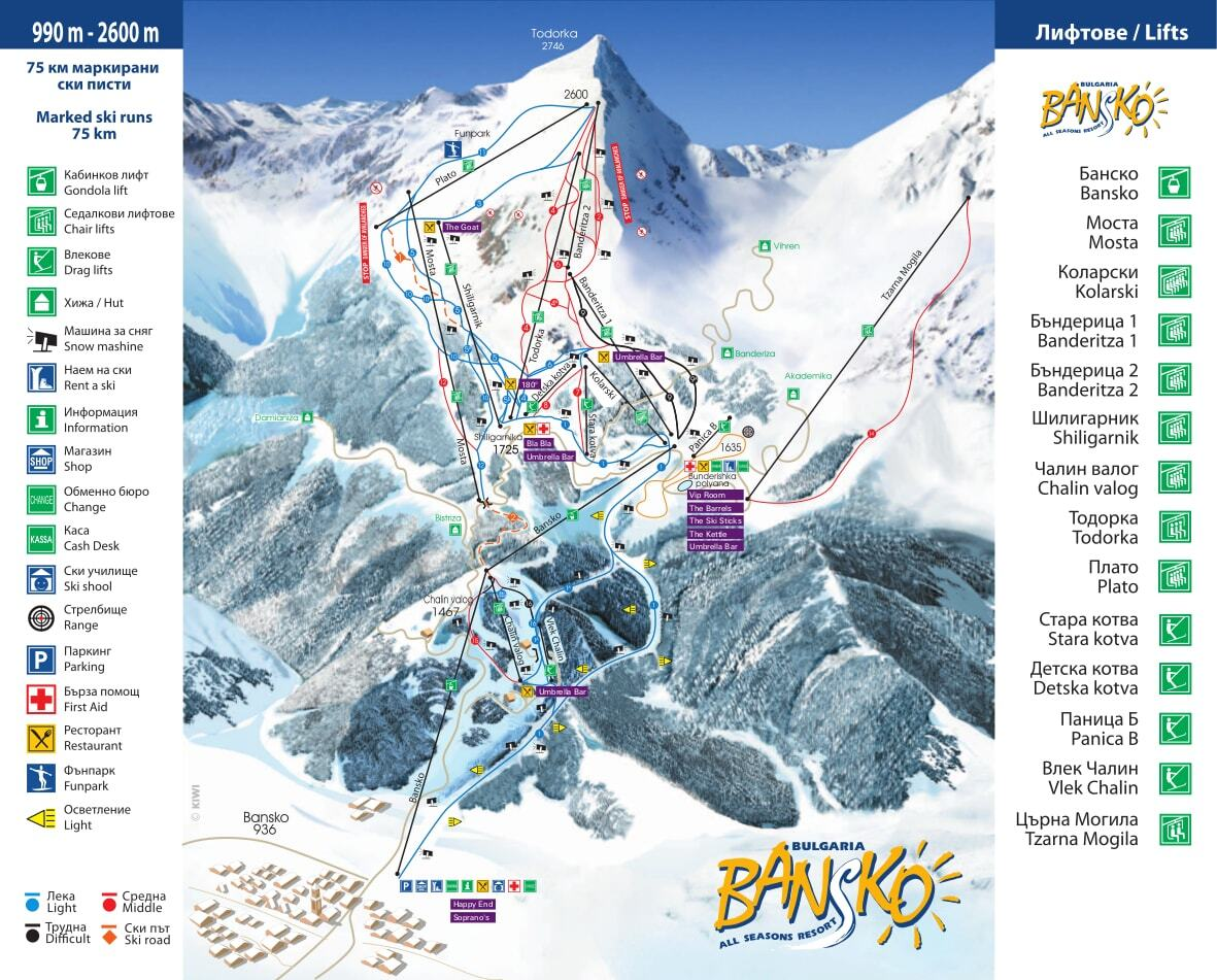Bansko Piste / Trail Map