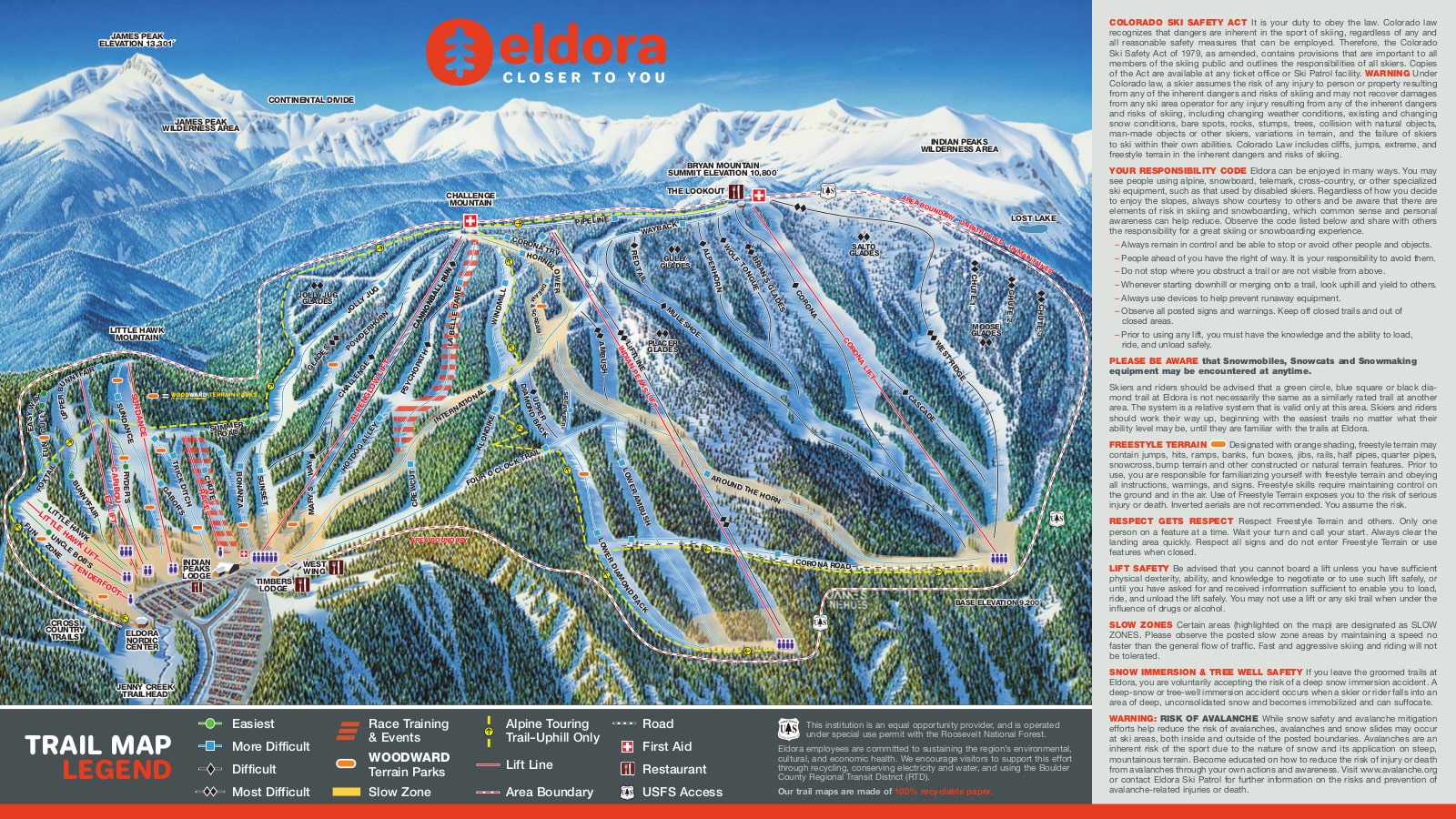 Eldora Mountain Resort Piste / Trail Map
