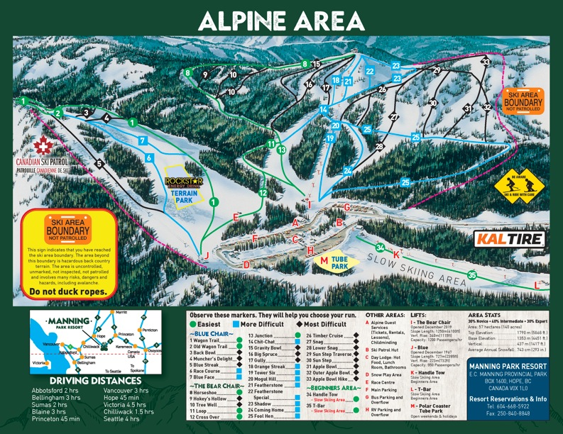 Manning Park Resort Piste / Trail Map