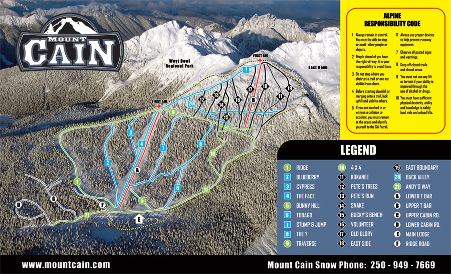 Mount Cain Piste / Trail Map
