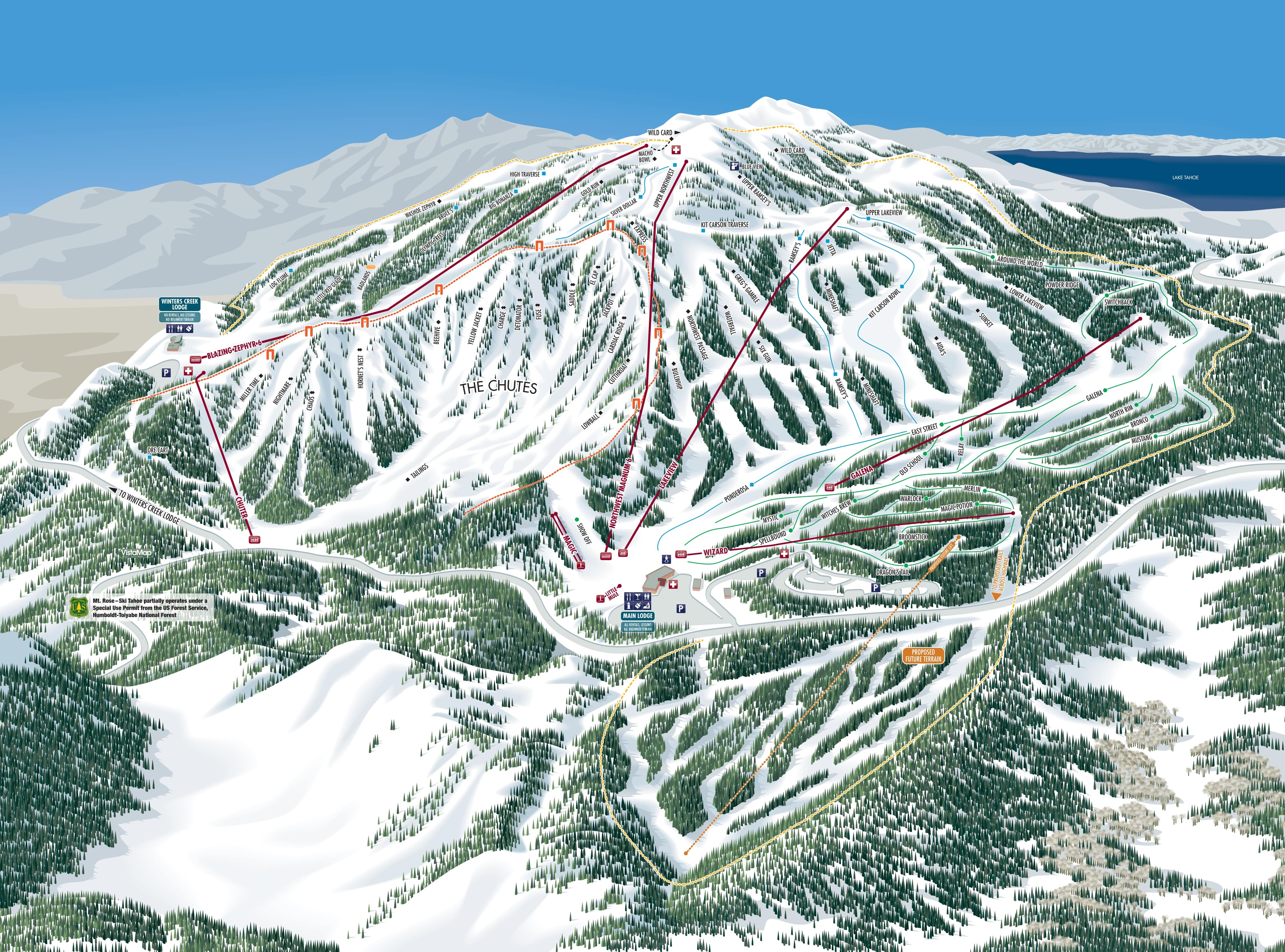 Mt Rose Ski at Tahoe Piste / Trail Map