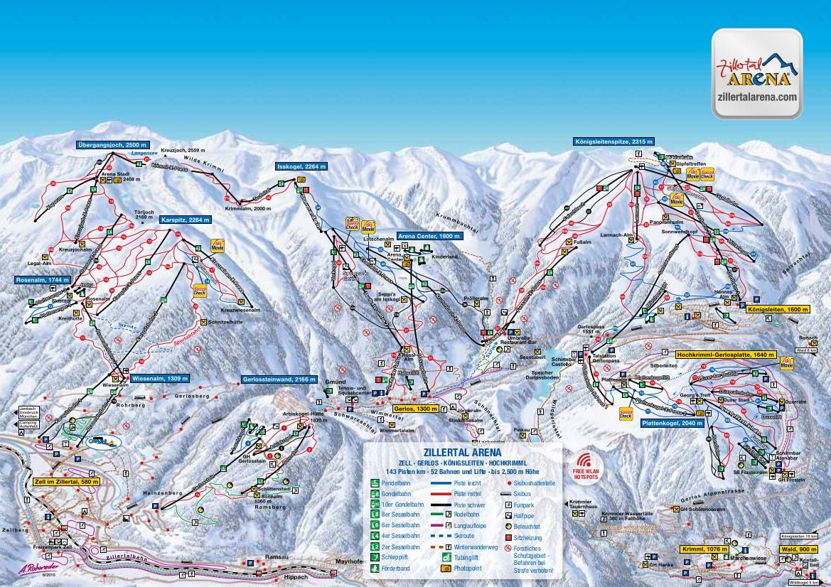 Zell am Ziller Piste / Trail Map